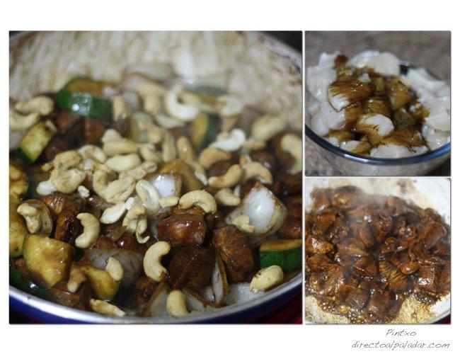 Receta de pollo salteado con verduras y anacardos. Pasos