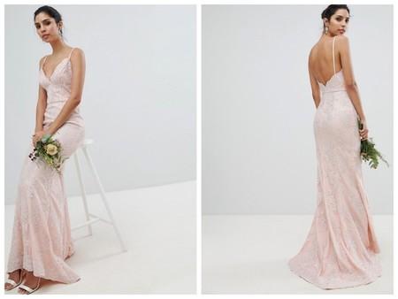 Vestido Novia Low Cost En Color Rosa