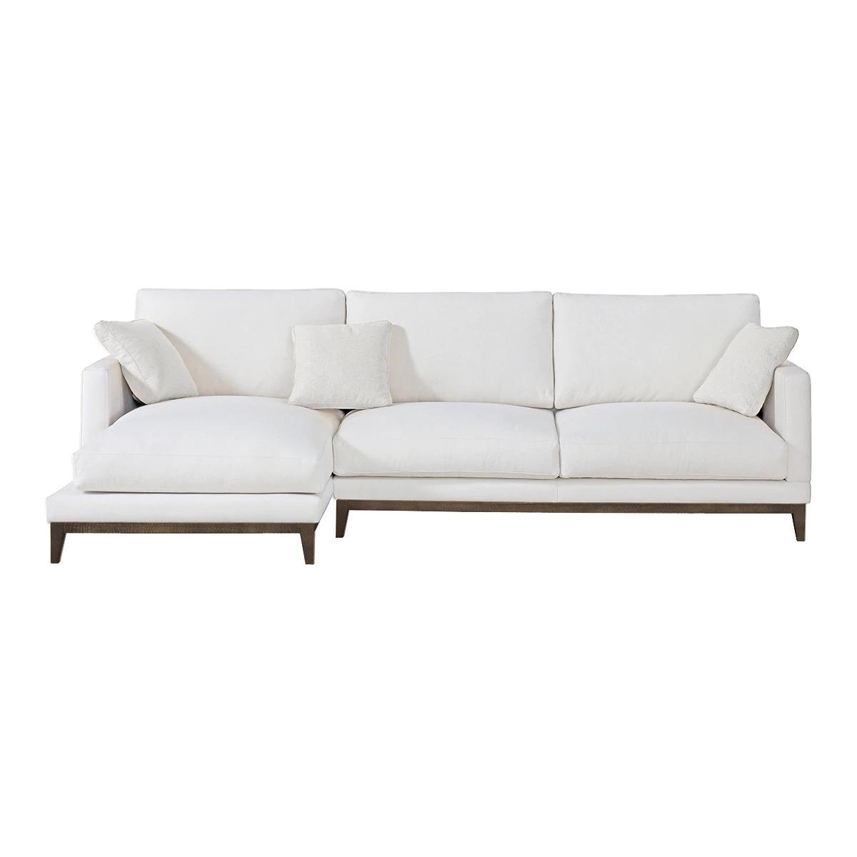 Sofá de 5 plazas con chaise longue izquierdo y base wengué Breda El Corte Inglés