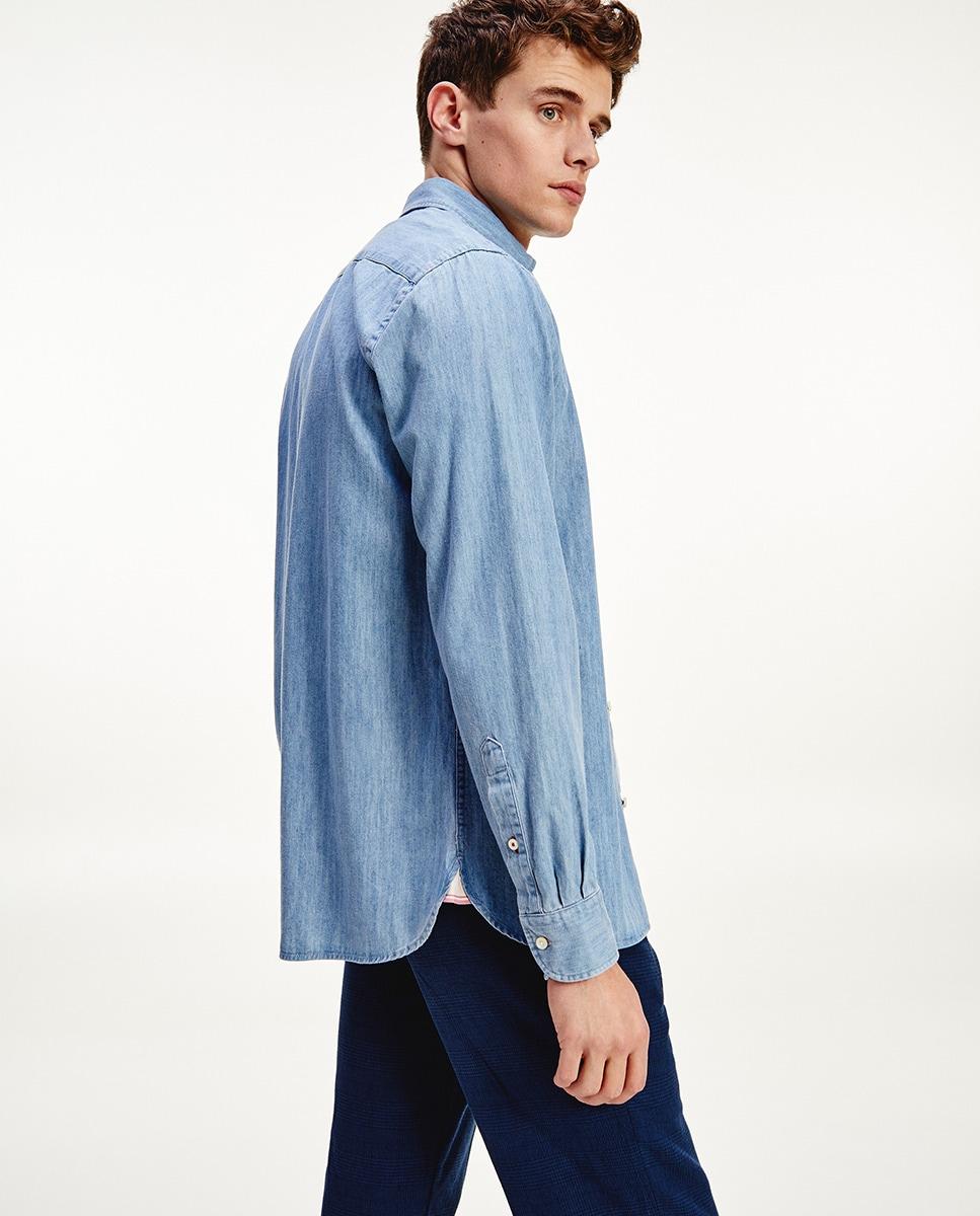 Camisa de hombre regular de manga larga azul claro
