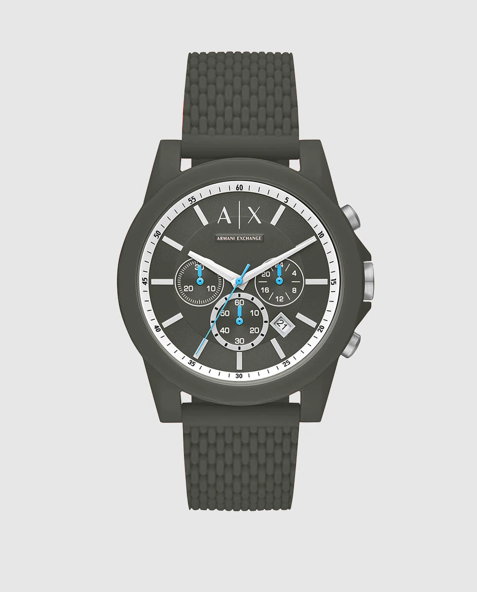 Reloj de hombre Armani Exchange AX1346 cronógrafo de silicona verde