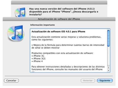Actualización a iOS 4.0.1 para el iPhone y 3.2.1 para el iPad ya disponible