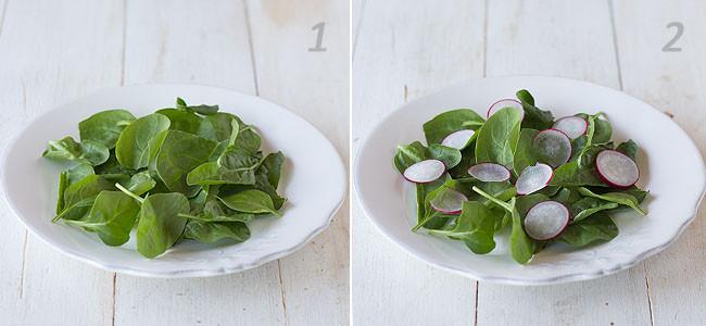 Receta de ensalada de espinacas, rabanitos y atún paso a paso