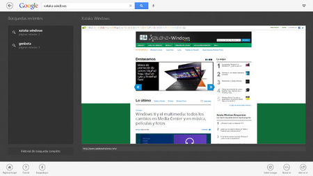 Google Search App para Windows 8, interfaz