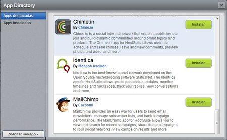 Hootsuite incorpora soporte para MailChimp y cuatro aplicaciones más