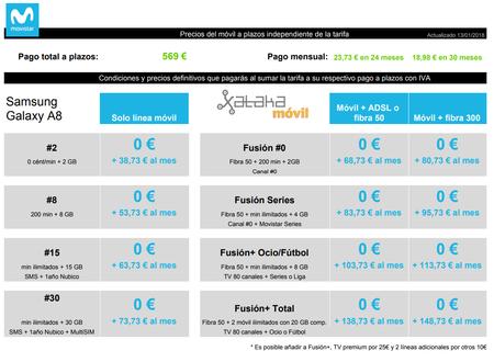 Precios Samsung Galaxy A8 Con Tarifas Movistar