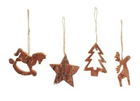 Decoración navideña: figuras de madera para el árbol