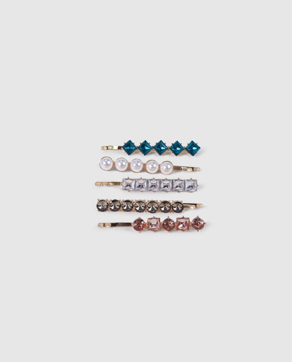 Set de horquillas El corte Inglés multicolor con adorno pedreria y perlas