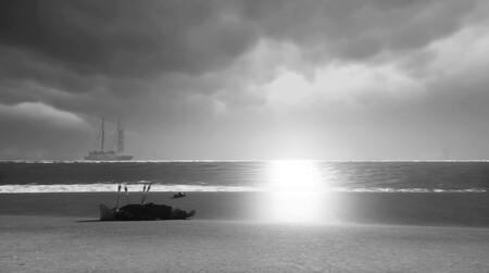 Modo Foto: la captura de la semana es en blanco y negro, tiene una playa y un personaje atravesado por flechas