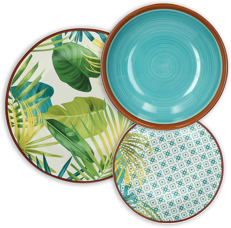 Tognana Jungle – Vajilla de 18 piezas, Porcelana, Multicolor, 9.12 kg