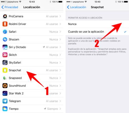Bloquear Ubicacion Snapchat