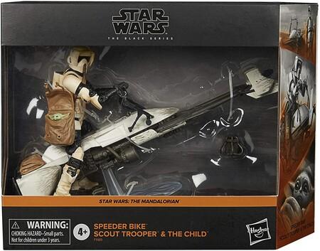Figura Star Wars Black Series - Speeder Bike Scout Trooper y The Child - The Mandalorian