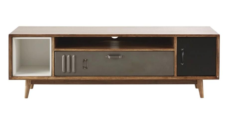 Mueble de TV industrial con 2 puertas de mango y metal, Lenox