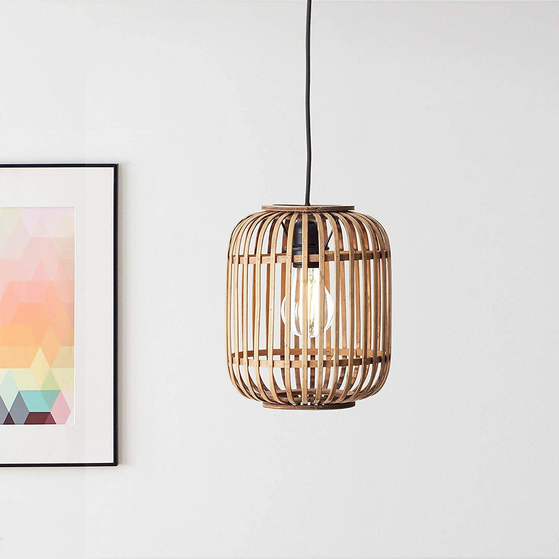 Lightbox - Lámpara colgante de ratán auténtico, portalámparas E27 para máx. bombilla de 40 W, moderna lámpara colgante de metal y ratán, color marrón claro y negro [Clase de eficiencia energética A++]