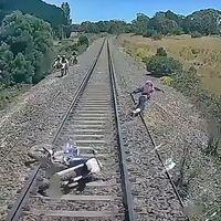 ¡Corre insensato! Esto no es una película de acción, es un cabezabuque saltando por su vida