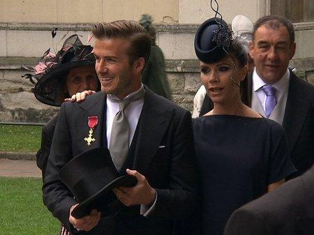 Sofisticación en los estilismos de los Beckham en la boda del príncipe Guillermo y Kate Middleton