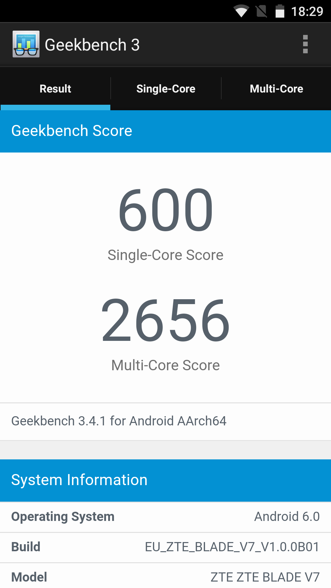 ZTE Blade V7, benchmarks
