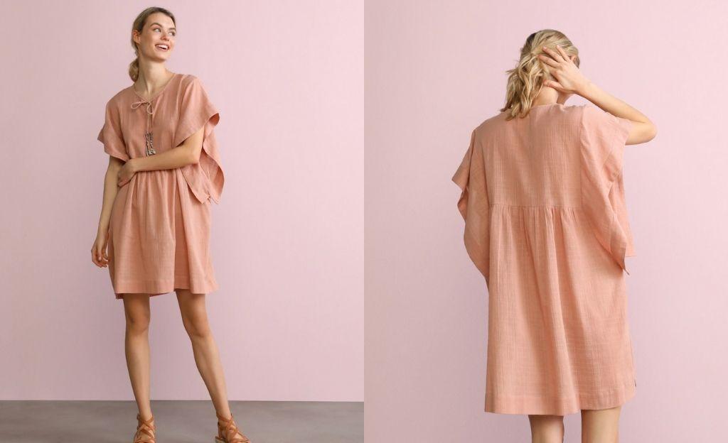 Caftan de algodón Southern Cotton en rosa liso