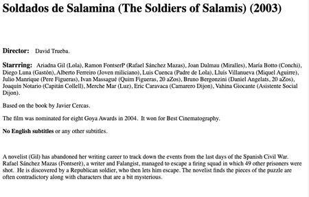 Soldados De Salamina The Soldiers Of Salamis 2003