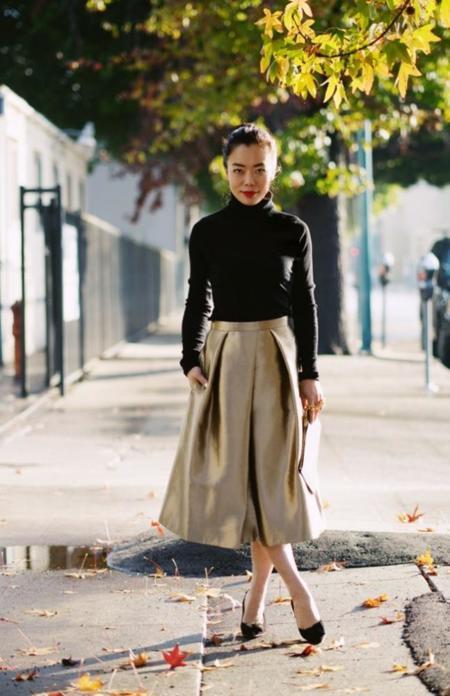 Halliedaily Turtleneck Sweater Tibi Golden Skirt 4