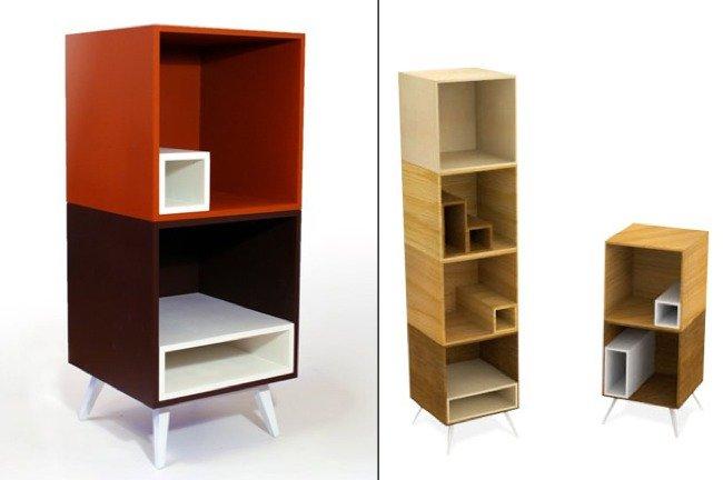 Dado estantes dentro de otros estantes for Estantes de carton