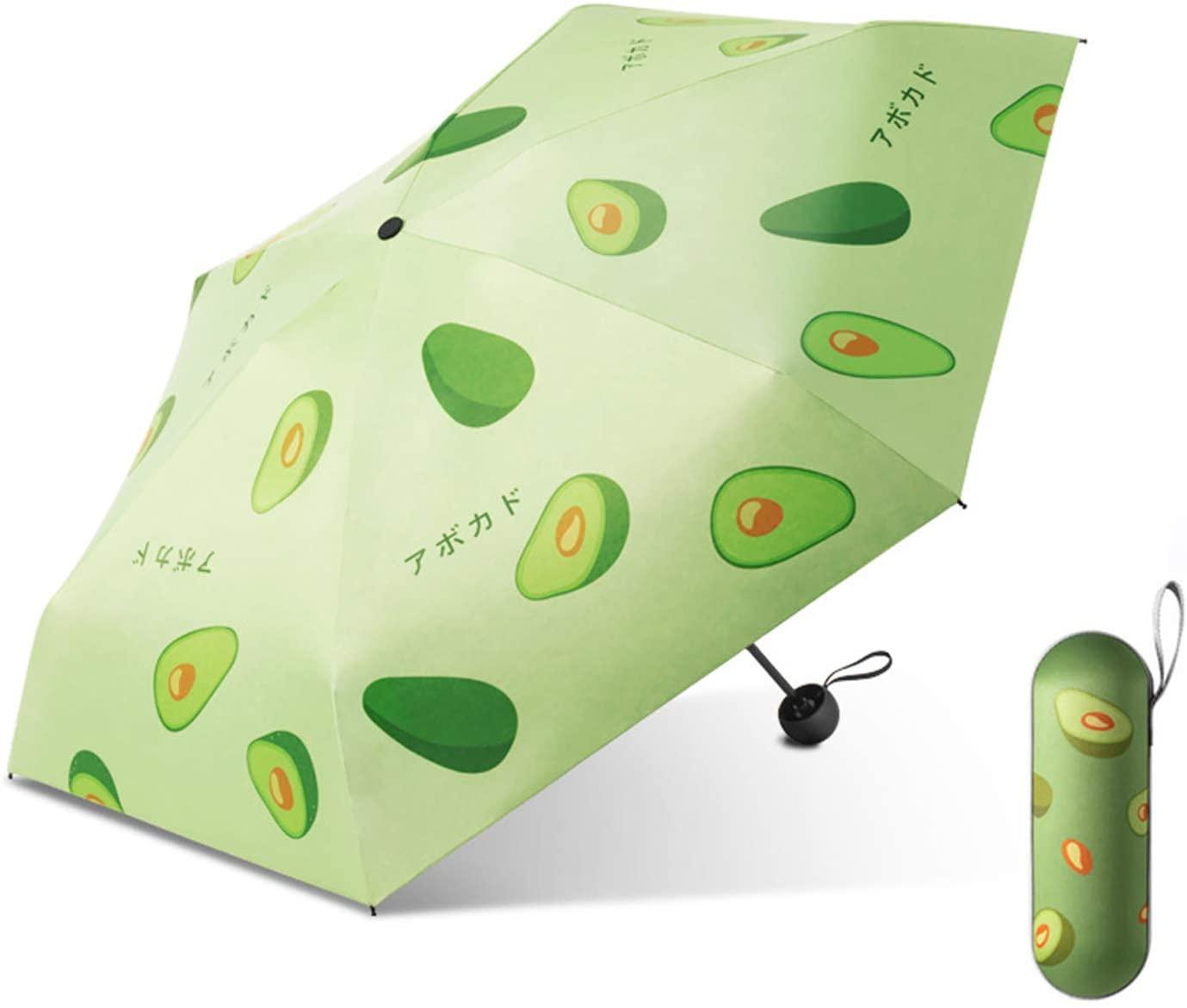 Galatée Protección UV UPF 50+ Mini Paraguas Plegable Paraguas Bloqueador Solar de Doble Capa con 8 Esqueleto de Paraguas (Aguacate)