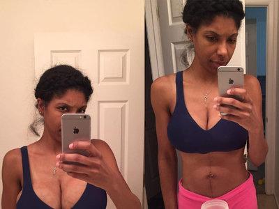 La increíble diferencia de los pechos de una mujer antes y después de sacarse leche
