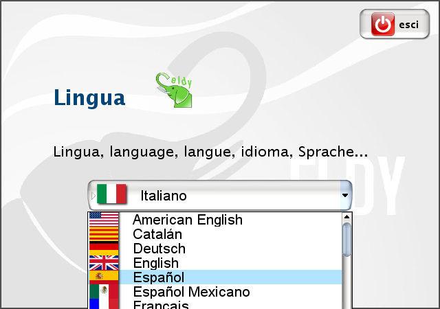 Eldy, selección de idioma