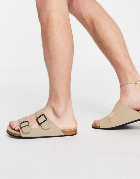 Asos Design Sandals In Stone