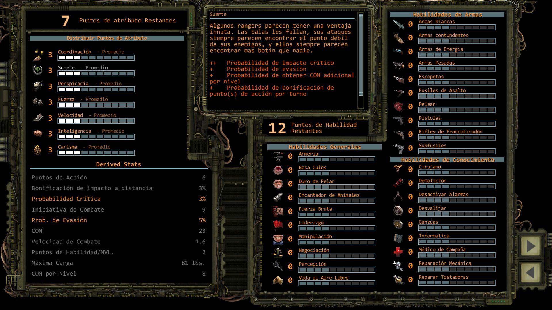 Foto de Distribución de puntos de Atributo en Wasteland 2 (1/11)