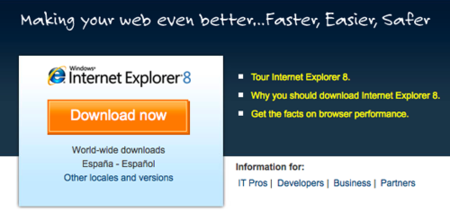 Descarga Internet Explorer 8