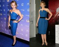 Kylie Minogue se rinde al encanto del vestido azul de Yves Saint Laurent
