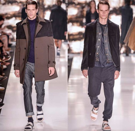 Colcci 2015 Winter Inverno Mens Fashion Runway Sao Paulo Brazil Moda Desfiles Denim Jeans Outerwear Coat Blazer Shorts Dots Colorblock Sandals Socks 01x