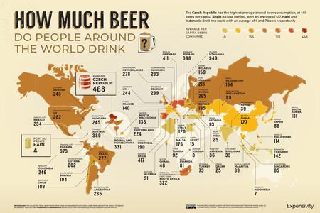 Mapa que muestra cuánta cerveza consume de media cada país.