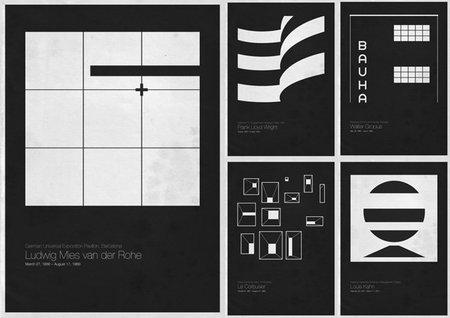 Six Architects, pósters minimalistas de grandes arquitectos