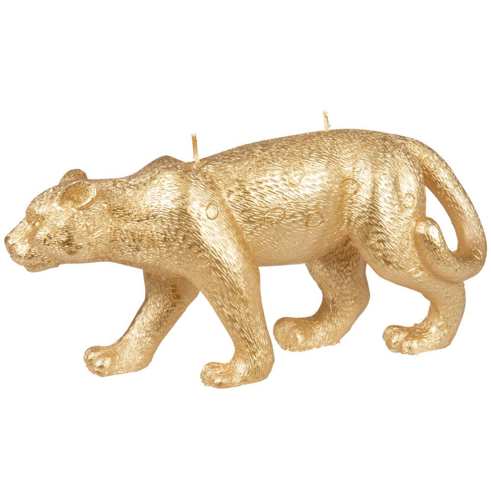 Vela con forma de pantera dorada