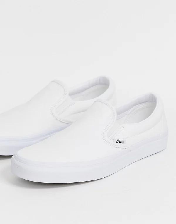 Zapatillas blancas sin cordones de Vans Classic