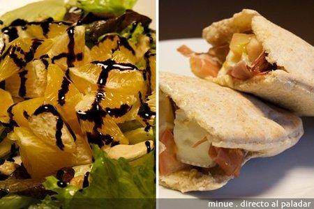 Comida para llevar: ensalada de naranja y pita de jamón con queso brie