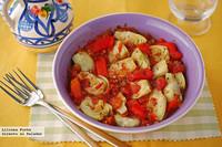 Ensalada de alcachofas con tomate y pimiento. Receta
