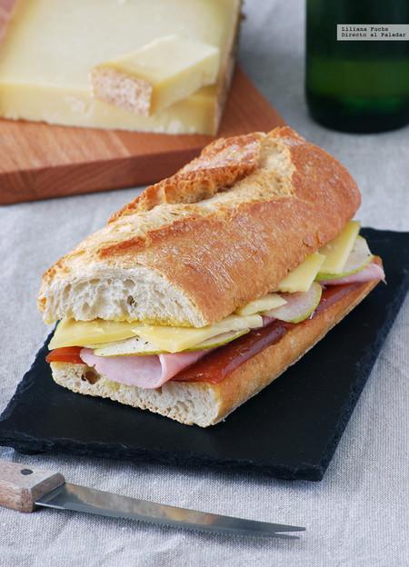 Bocadillo de jamón cocido con dulce de membrillo, pera y queso Gruyère: receta para una cena sin complicaciones