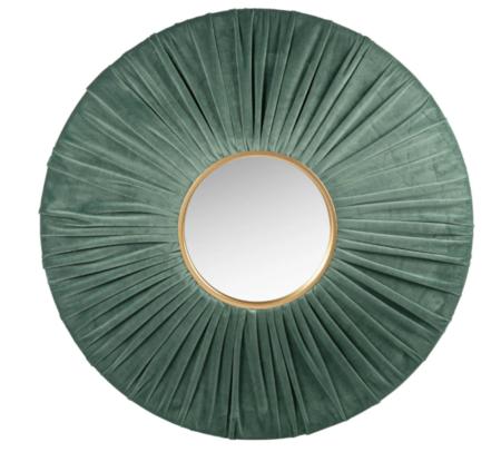 Espejo De Terciopelo Verde Y Dorado 70 Cm