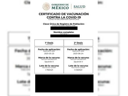Certificado Vacunacion Covid Oficial Mexico