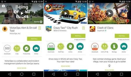 Google Play ahora con insignias de colores para indicar el número de descargas de las aplicaciones