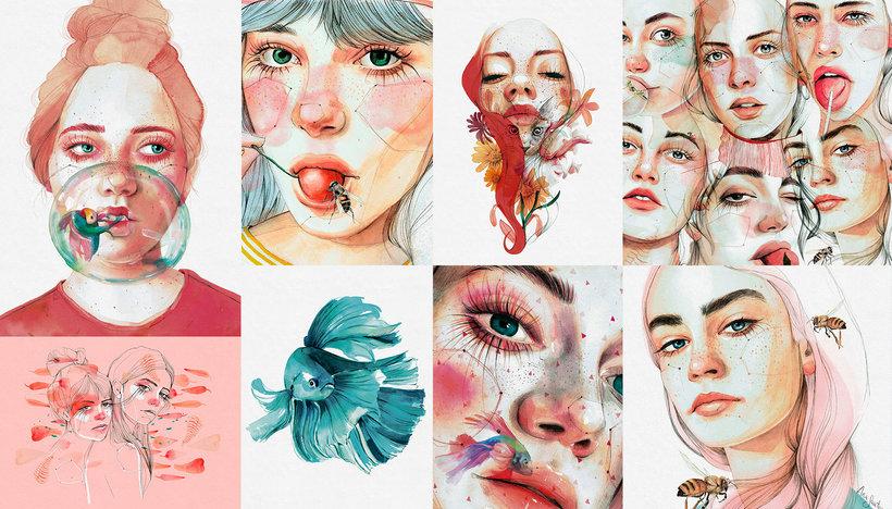 Retrato ilustrado en acuarela Un curso de Ana Santos, pintora e ilustradora