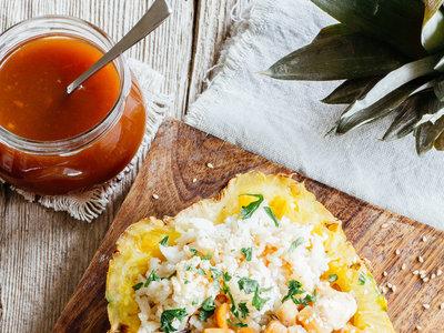 Pollo agridulce con piña y cacahuates. Receta fácil y deliciosa