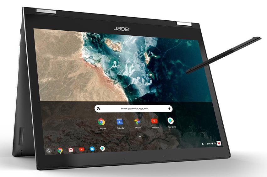 El elegante Acer Chromebook Spin 13, fabricado con aluminio, es el primer Chromebook convertible que utiliza un veloz Intel® Core i5® de 8ª generación y una pantalla 3:2 para ver con mayor amplitud sitios web y documentos.