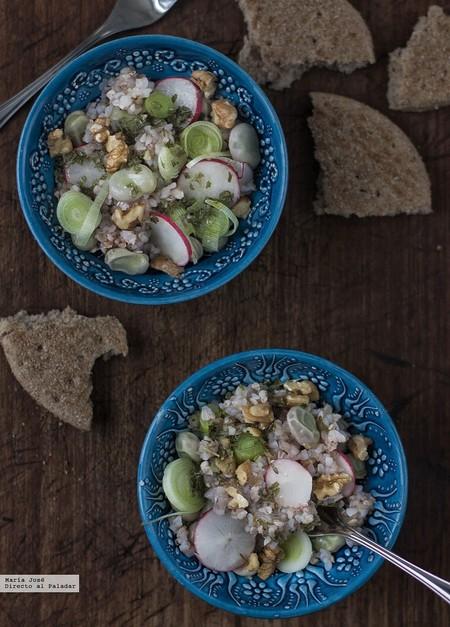 Ensalada de trigo sarraceno y habas