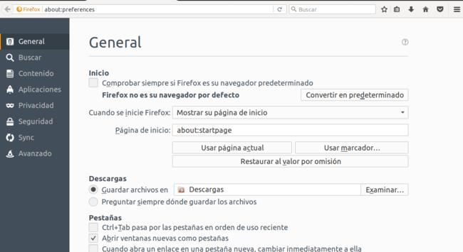 Opciones En Firefox 55