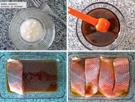 Preparación salmón soya maple