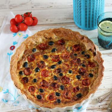 Receta de quiche de tomates asados y queso gruyère, ideal para compartir